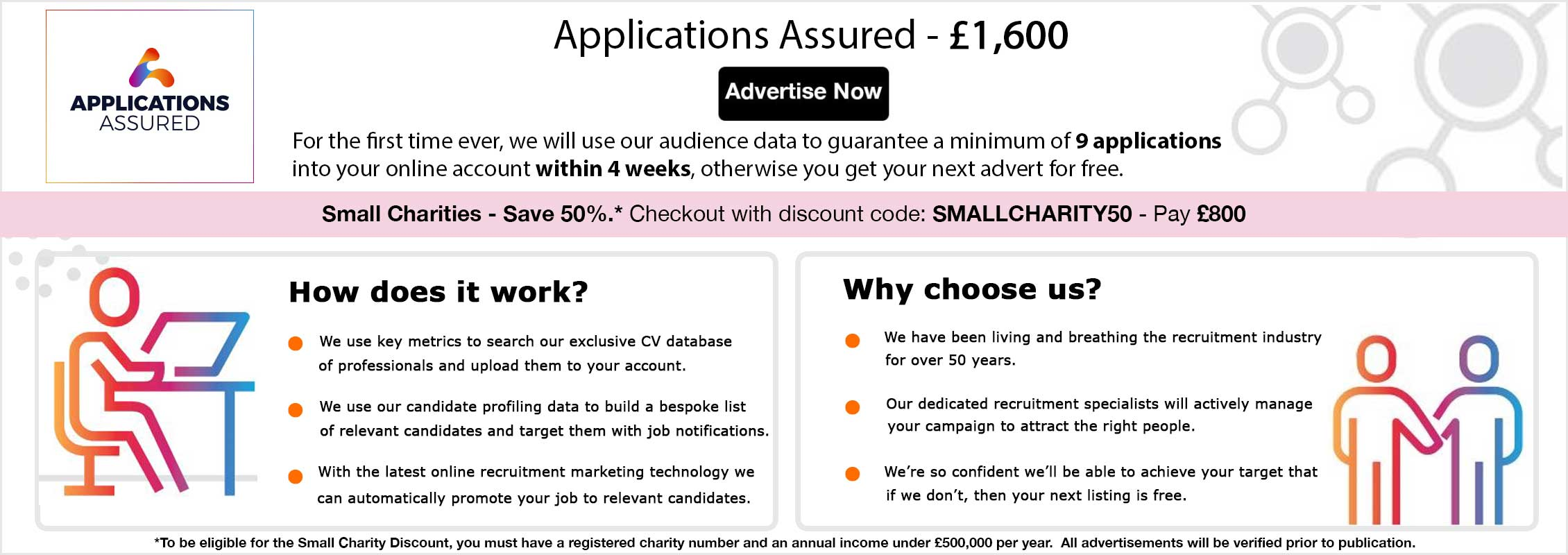 Applications Assured. £1,600. Advertise Now. Receive a minimum of 9 guaranteed applications or your next advert free. Take the worry out of your hiring process. We use CV, Profile and Search data to match candidates for you. Optimised advert including your logo, header banner and a tailored colour palette (4 weeks). Bespoke, targeted email including CV search, match and alert. Tailored programmatic advertising campaign targeting relevant job seekers. Social Media listing - promoted to our Twitter followers. Candidate Management Tool - view the status of your posting and control how you receive applications. To be eligible for the Small Charity Discount, you must have a registered charity number and an annual income under £500,000 per year. All ads will be verified.
